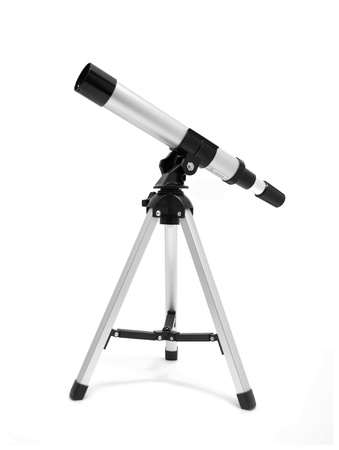 eyepiece: Telescope on tripod over white Stock Photo