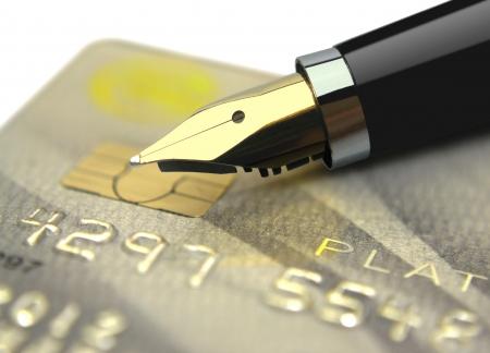 registros contables: Tarjeta de crédito y pluma Foto de archivo