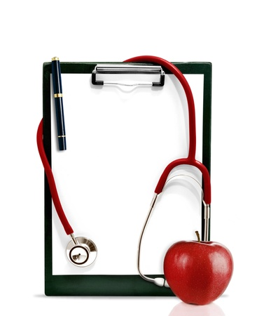 nurser: Stethoscope with a clipboard and a red apple