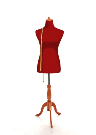 tailor measure: Female torso mannequin with measurement tape Stock Photo