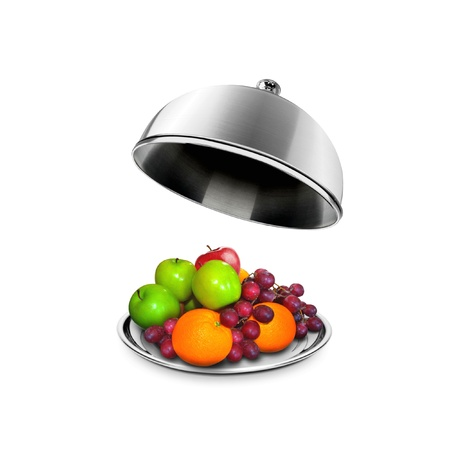 cloche: Healthy Fruits on a platter with open lid