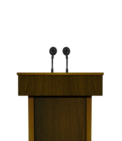 news stand: Podium and microphones