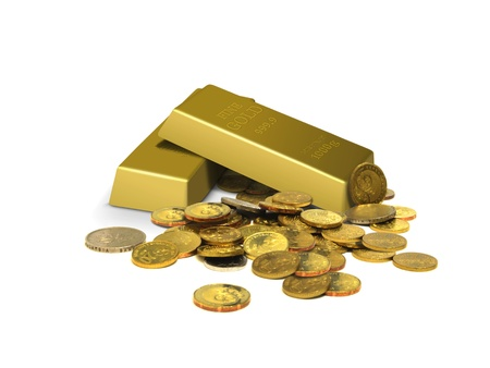 golden coins: Gold bars and coins