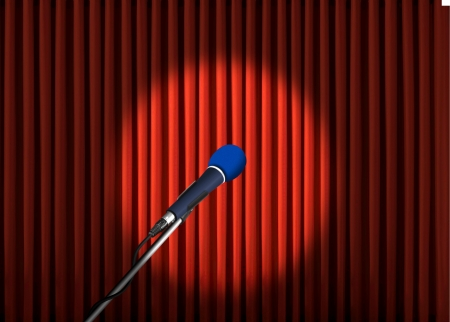 narrate: Microphone under spotlight over red curtains