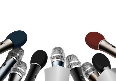 press conference: Press conference microphones over white Stock Photo