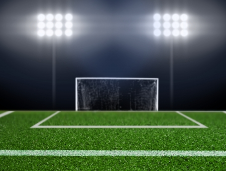 Empty soccer field with spotlights  Stock Photo