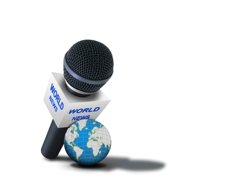 world news: World news reporting microphone