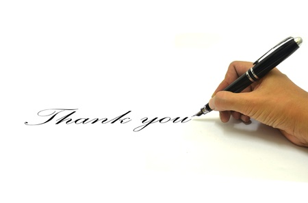 Hand writing thank you Stock Photo - 20710194