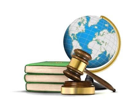 망치의 책과 세계와 국제 사법 시스템 스톡 콘텐츠 - 20710202