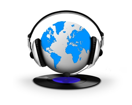 Headphone and globe with vinyl record photo