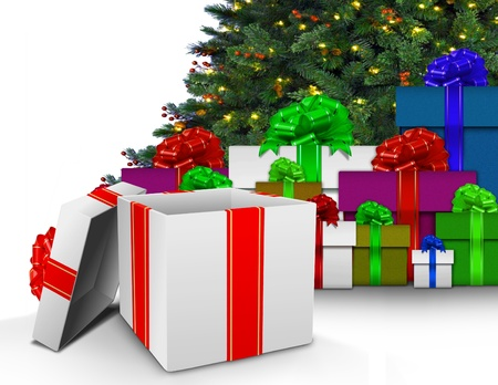 Christmas presents by tree photo