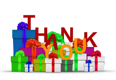 thanks giving: Thank you on stack of gift boxes