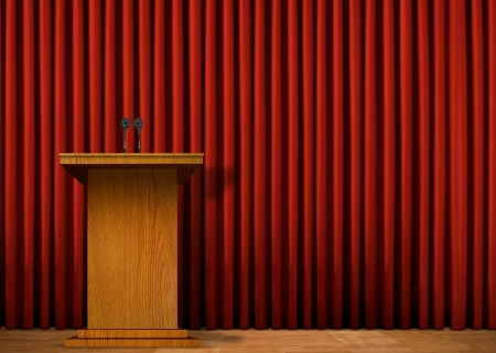 press conference: Podium on stage over red curtain Stock Photo
