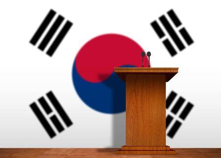 lectern: Podium and Korean flag