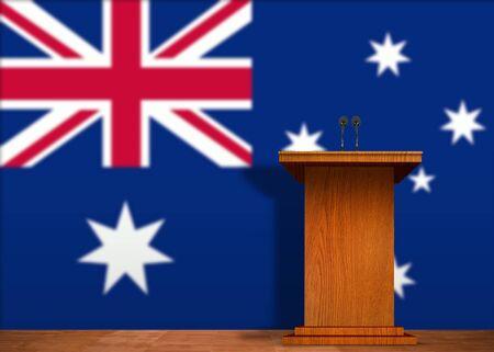 lectern: Podium and Australian flag