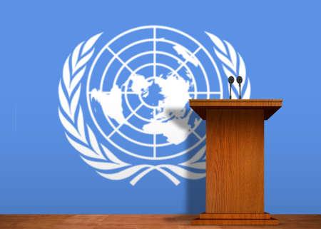 naciones unidas: Podium y la bandera de las Naciones Unidas