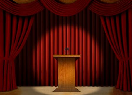 赤いカーテンの上の舞台でスポット ライトでは表彰台