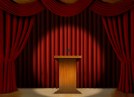 Podium in a spot light on stage over red curtains   Imagens
