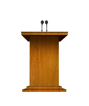 Podium and microphones over white  photo