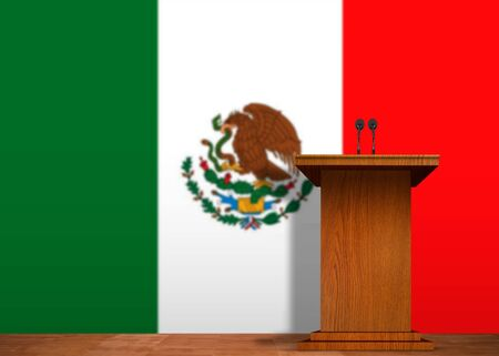 Podium and Mexican flag photo