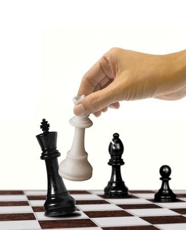Queen checkmate on king over white