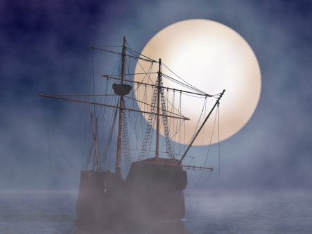 달빛과 안개와 해적선 스톡 콘텐츠
