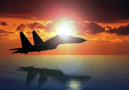 aeronautics: Military Aircraft Flying on Bright Sun