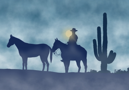 Cowboy and Horses in a Foggy Day Imagens