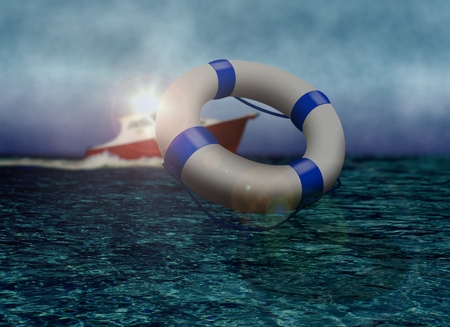 sos: Rescue Boat and Life Buoy at Sea during Stormy Day