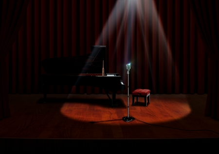 duet: Piano and Microphone under spotlight with Red Curtains