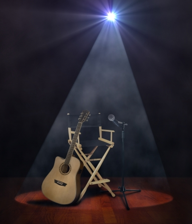Guitar on Stage with Microphone photo