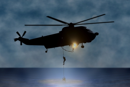 Rescue of the Person at Sea by Helicopter Banque d'images
