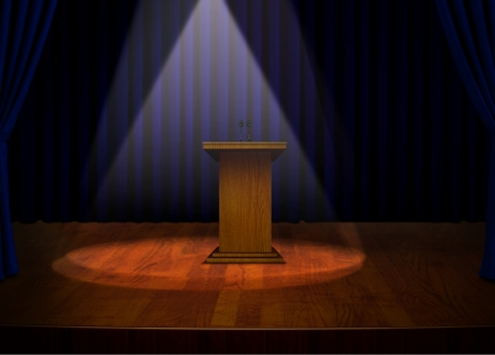 lectern: Podium on Stage with Projector Lights