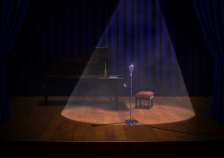 Stage with Piano and Microphone Stock Photo