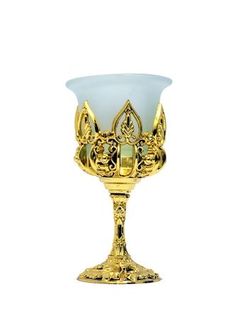 goblet: Antique Golden Glass