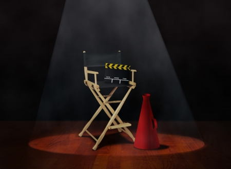 directors cut: Director Chair with Clapper and Megaphone Stock Photo