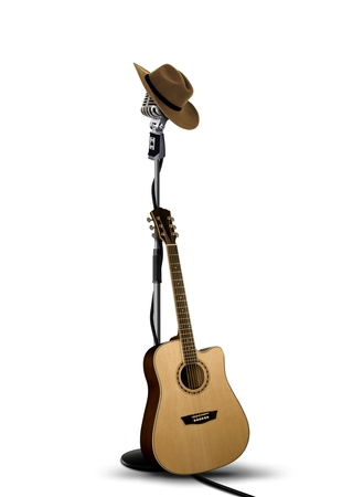 country music: Vintage Microphone with Cowboy Hat and Guitar
