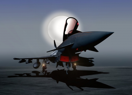 fighter pilot: Fighter Plane on the Ground at Night
