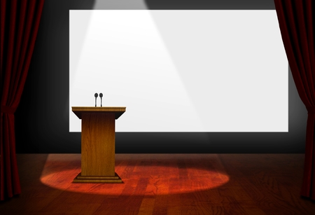 convention hall: Seminar Podium and Blank Screen on Stage