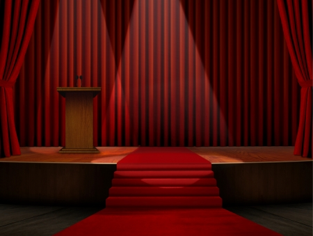 empty stage: Podium and Red Carpet on Stage
