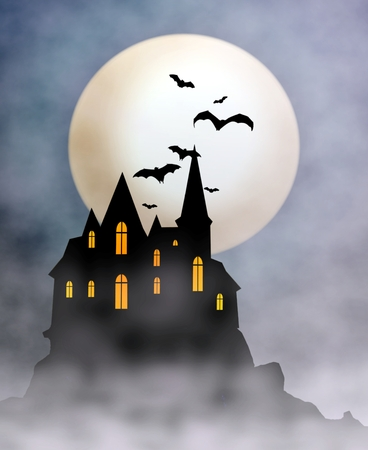 spooky house: Scary House on Top of the Hill Stock Photo