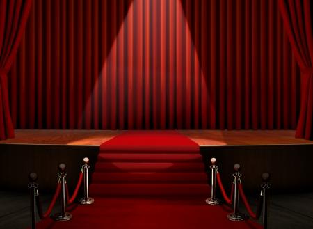 feier: Roter Teppich und Bühne mit Sicherheitsbarriere