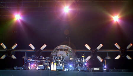 Live Band Setting on Stage with Spotlights photo