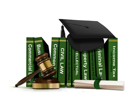 Law Books with Mortarboard and Scroll photo
