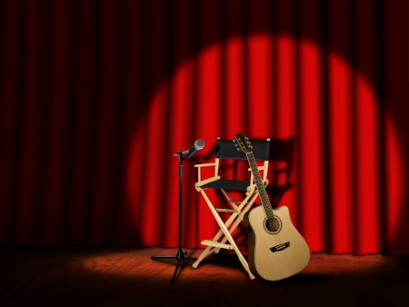 Microphone and Guitar on stage with Curtains photo