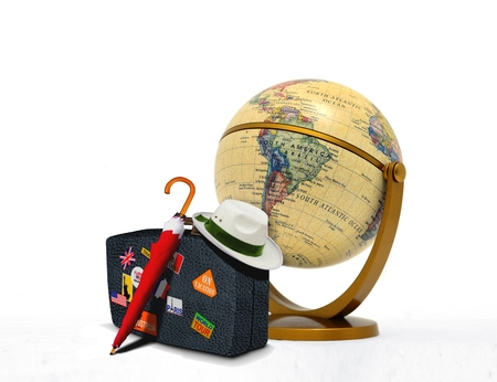 sightseeing tour: Travel Suitcase with Hat and Globe
