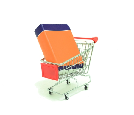 paper basket: Book in a Shopping Cart