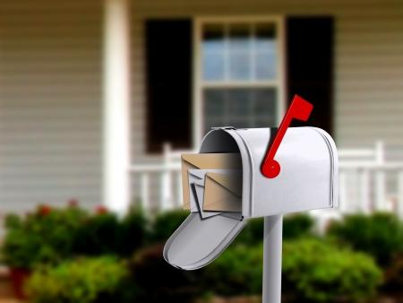 caixa de correio: Branco Mail Box em frente de uma casa Banco de Imagens