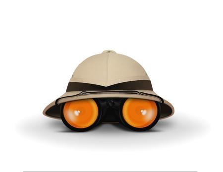 médula: Sombrero Explorer y Binocular Foto de archivo