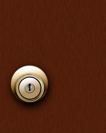 Door Knob on Brown Wooden Door photo